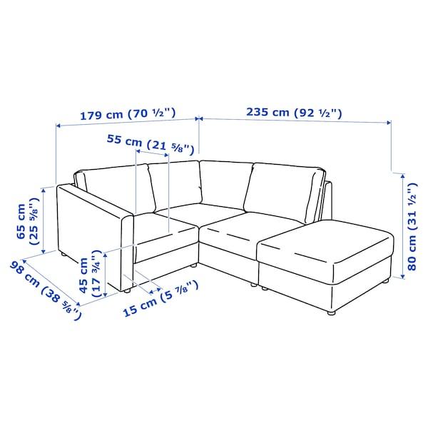 VIMLE Corner sofa, 3-seat, with open end/Gräsbo black-blue