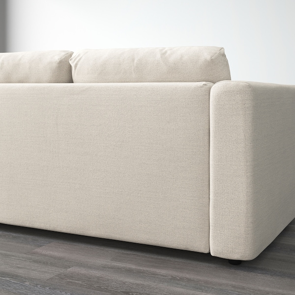VIMLE Corner sofa, 3-seat, with open end/Gunnared beige