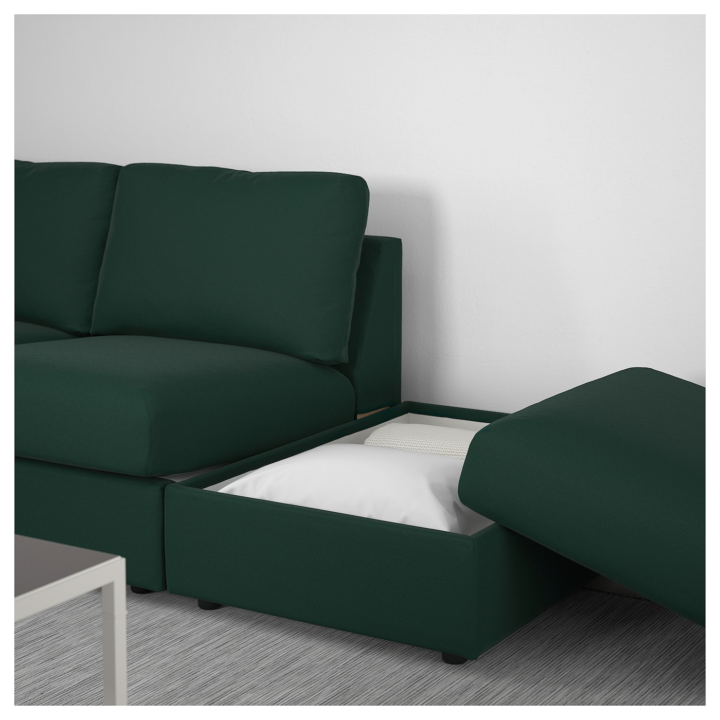 vimle corner sofa 3 seat with open end gunnared dark green ikea. Black Bedroom Furniture Sets. Home Design Ideas