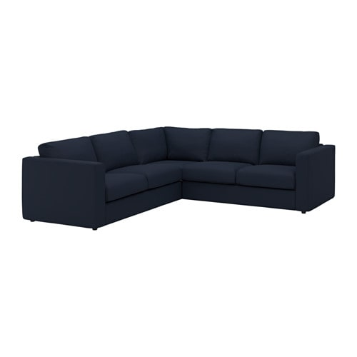 VIMLE Corner Sofa 4 seat Grsbo Black blue IKEA