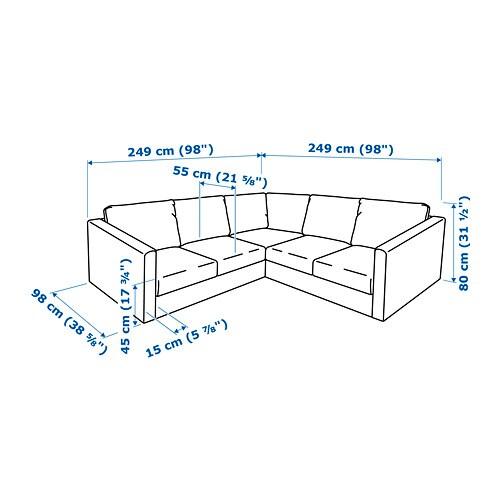 Vimle Corner Sofa 4 Seat Grasbo Black Blue Ikea