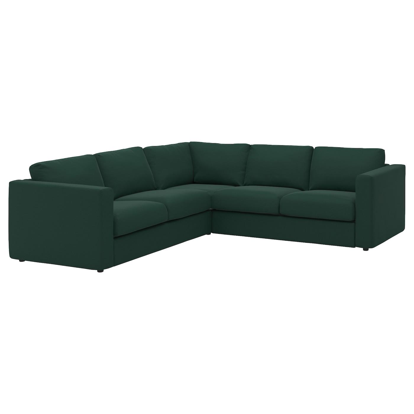 Vimle corner sofa 4 seat gunnared dark green ikea for Dark green sectional sofa