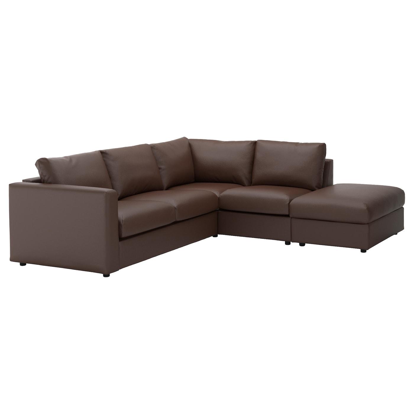 Vimle Corner Sofa 4 Seat With Open End Farsta Dark Brown