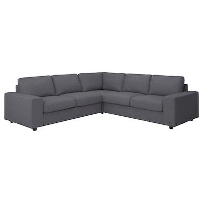VIMLE Corner sofa, 4-seat, with wide armrests/Gunnared medium grey