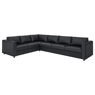 VIMLE Corner sofa, 5-seat, Grann/Bomstad black
