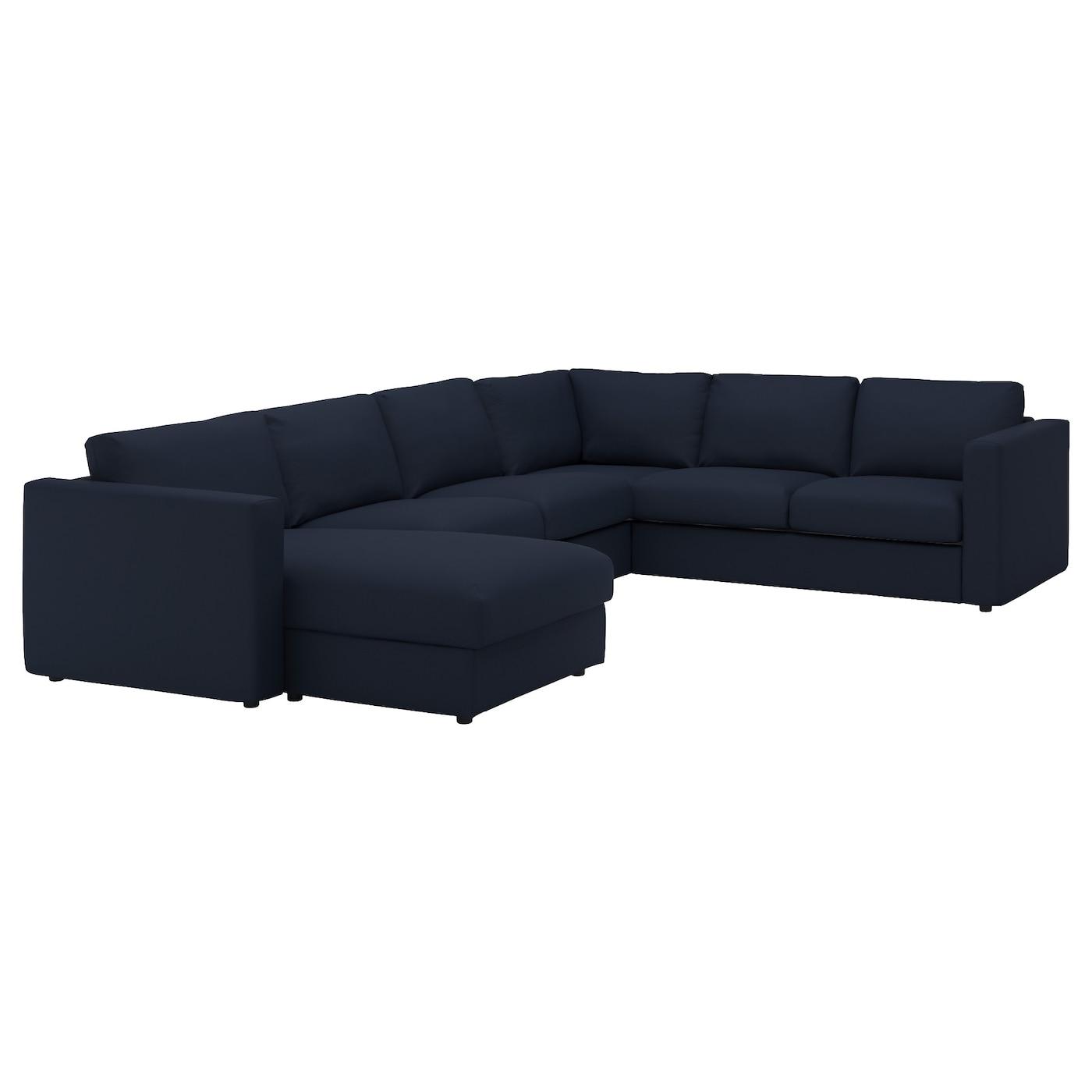 Vimle corner sofa 5 seat with chaise longue gr sbo black for Sofa 5 plazas chaise longue