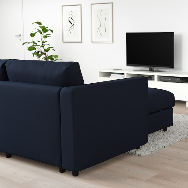 VIMLE Corner sofa, 5-seat, with chaise longue/Gräsbo black-blue
