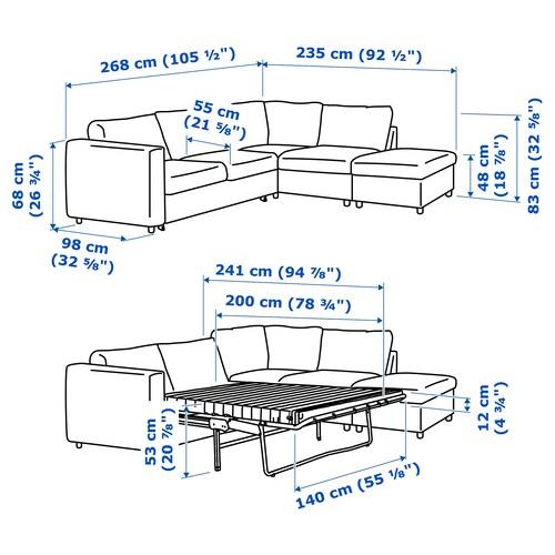 VIMLE Corner sofa bed, 4 seat with open end, Gunnared medium grey