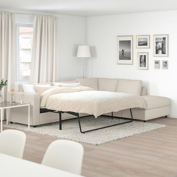 VIMLE with open endGunnared beige, Corner sofa bed, 4 seat