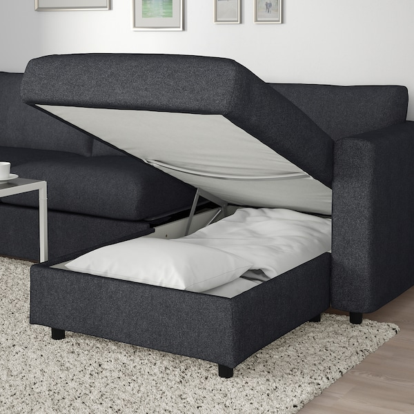 VIMLE Corner sofa-bed, 5-seat, with chaise longue/Tallmyra black/grey