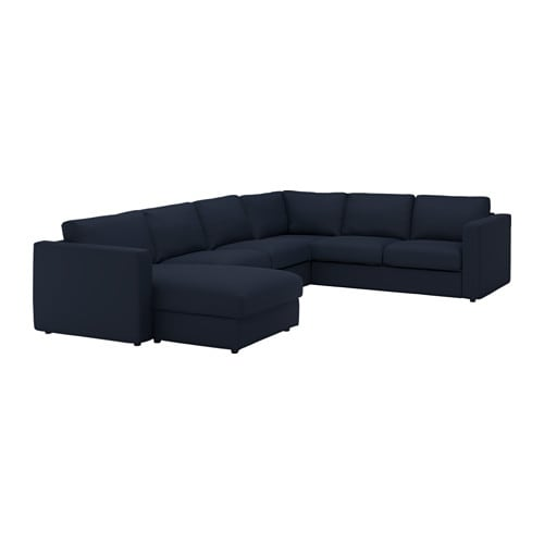 Vimle cover for corner sofa 5 seat with chaise longue gr sbo black blue ikea - Chaise longue jardin ikea ...