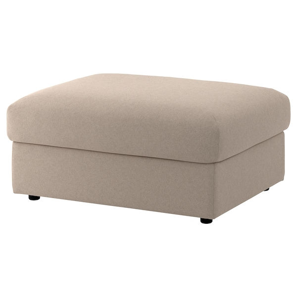 VIMLE Cover for footstool with storage, Tallmyra beige