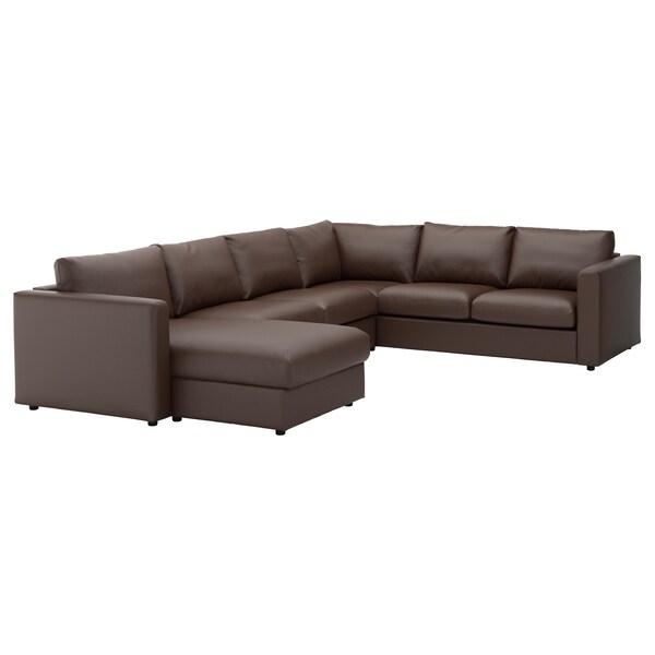 Terrific Corner Sofa 5 Seat Vimle With Chaise Longue Farsta Dark Brown Inzonedesignstudio Interior Chair Design Inzonedesignstudiocom