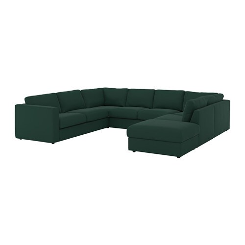 VIMLE U shaped sofa 6 seat With open end gunnared dark green IKEA