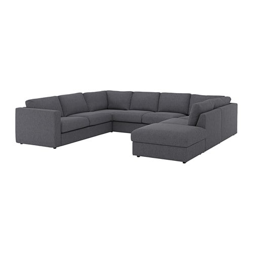 VIMLE U shaped Sofa 6 Seat With Open Endgunnared Medium