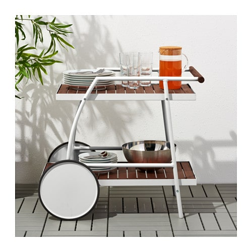 Vindals trolley outdoor white brown stained 81x51 cm ikea - Desserte plancha ikea ...