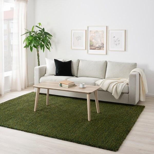 VINDUM Rug, high pile, green, 200x270 cm