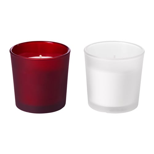 IKEA VINTER 2016 scented candle in glass A soft vanilla scent with hints of sweet berries.