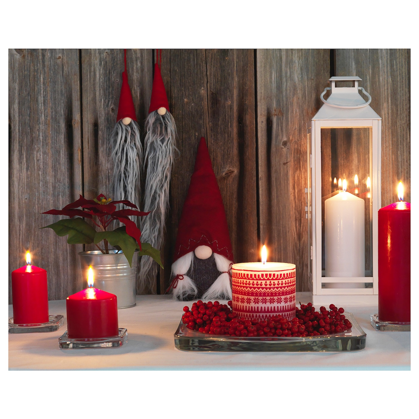 vinter 2017 unscented block candle patterned red 10 cm ikea. Black Bedroom Furniture Sets. Home Design Ideas