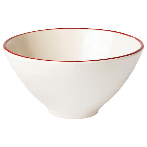 VINTER 2020 Bowl, handmade white/red, 15 cm