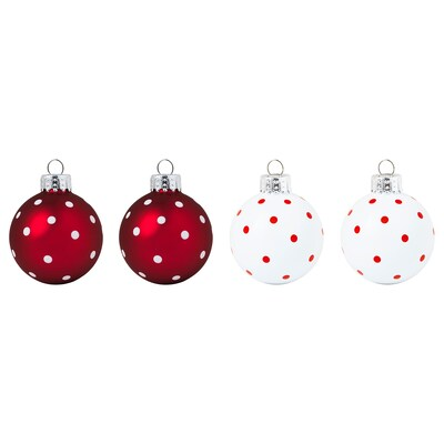 VINTER 2020 Decoration, bauble, glass white/red, 5 cm