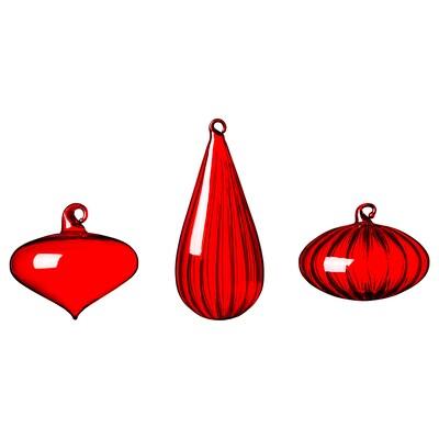 VINTER 2020 Decoration bauble, set of 3, assorted shapes/glass red