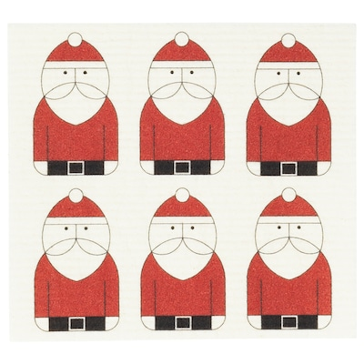 VINTER 2020 Dish-cloth, Santa Claus pattern white/red