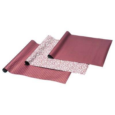 VINTER 2020 Gift wrap roll, Christmas rose pattern/dot pattern dark red, 3x0.7 m/2.10 m²x3 pack