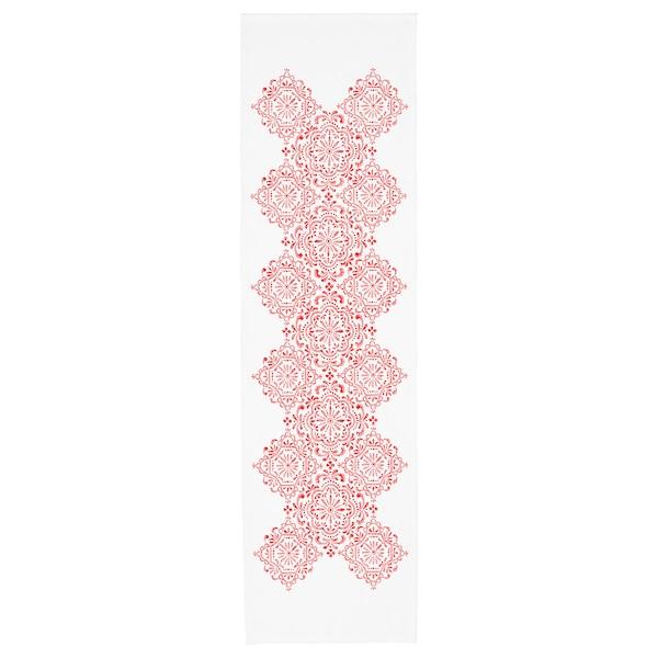 VINTER 2020 Table-runner, medallion pattern white/red, 35x130 cm