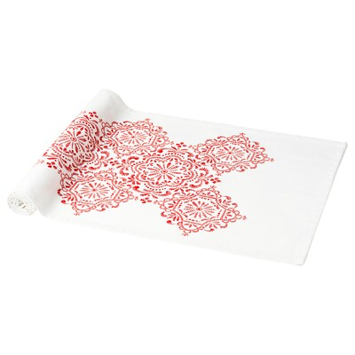 VINTER 2020 Table-runner, medallion pattern white/red, 35x130 cm