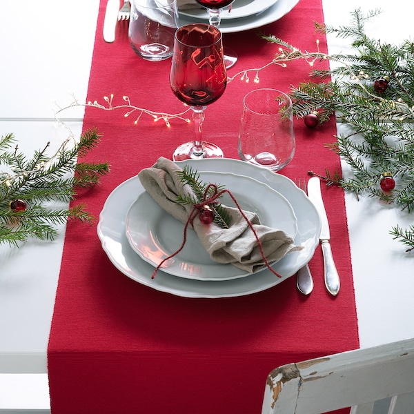 VINTER 2020 Table-runner, red, 35x130 cm