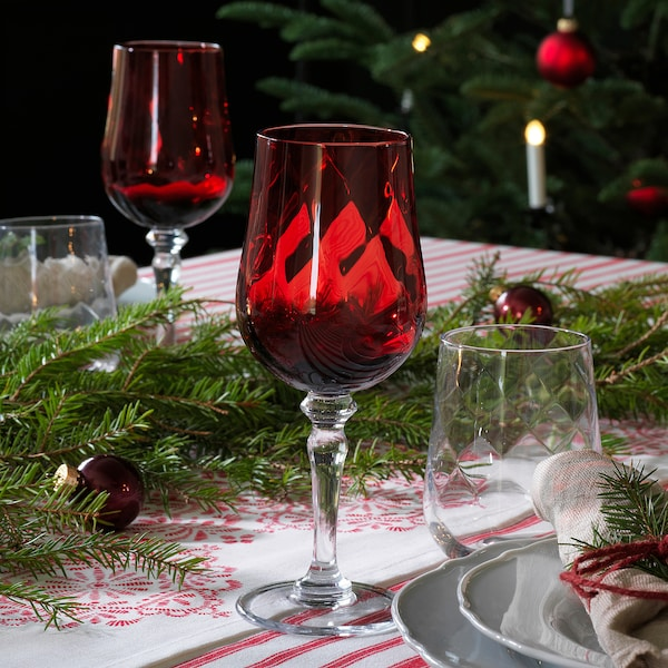 VINTER 2020 Wine glass, clear glass/red, 33 cl