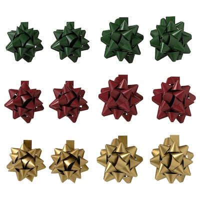 VINTER 2021 Gift bow, set of 12, green/red/gold-colour