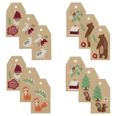 VINTER 2021 Gift tags, Santa Claus pattern beige
