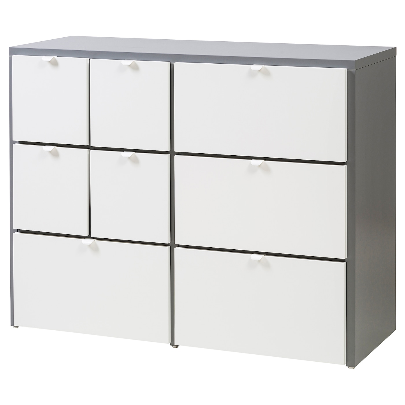 IKEA VISTHUS chest of 8 drawers The bottom drawers have castors and therefore easy to move about.