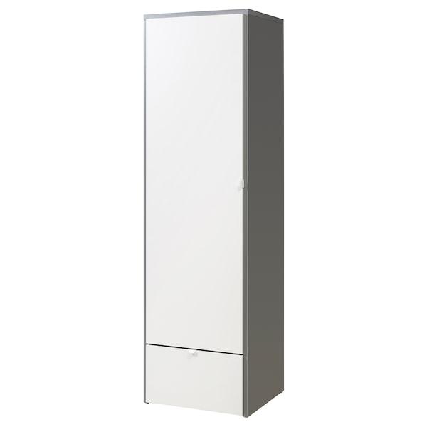 VISTHUS Wardrobe, grey/white, 63x59x216 cm