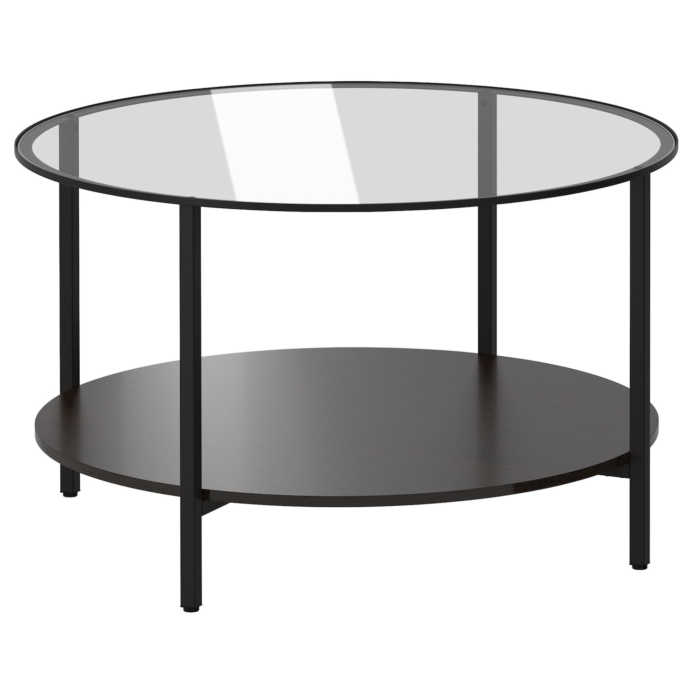 Tempered Glass Coffee Table With Drawers: VITTSJÖ Coffee Table Black-brown/glass 75 Cm