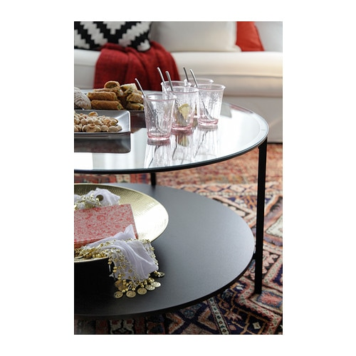 IKEA VITTSJÖ coffee table The table top in tempered glass is stain resistant and easy to clean.