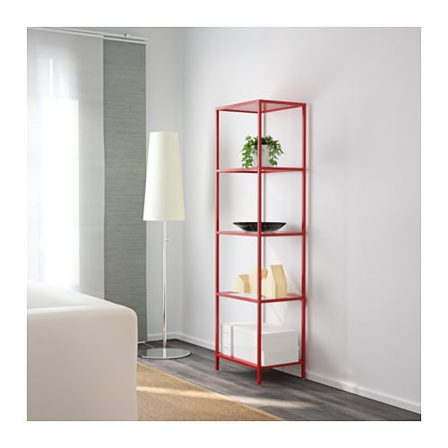 vittsj shelving unit red glass 51x175 cm ikea. Black Bedroom Furniture Sets. Home Design Ideas