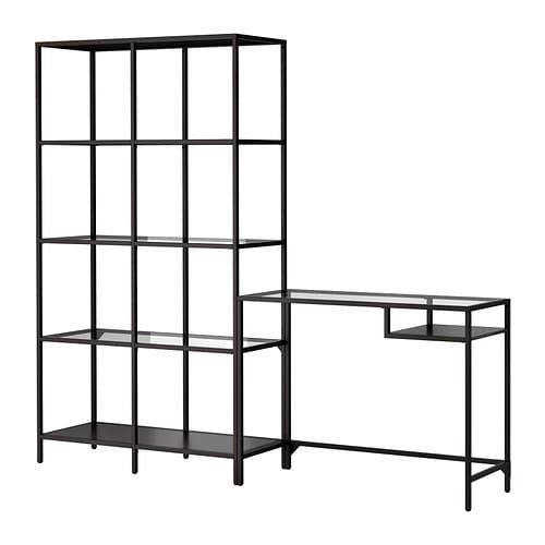 VITTSJÖ Shelving unit with laptop table IKEA Tempered glass and metal, hardwearing materials that give an open, airy feel.