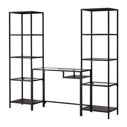 VITTSJÖ Shelving unit with laptop table IKEA Tempered glass and metal; hardwearing materials that give an open, airy feel.