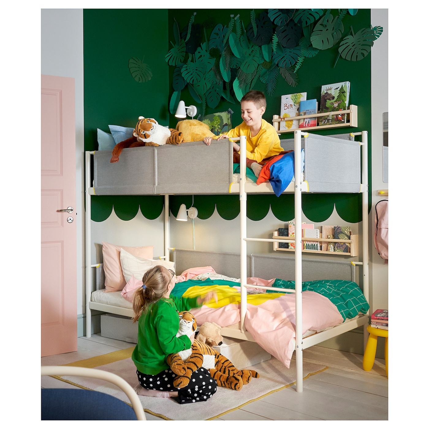 Vitval White Light Grey Bunk Bed Frame 90x200 Cm Ikea