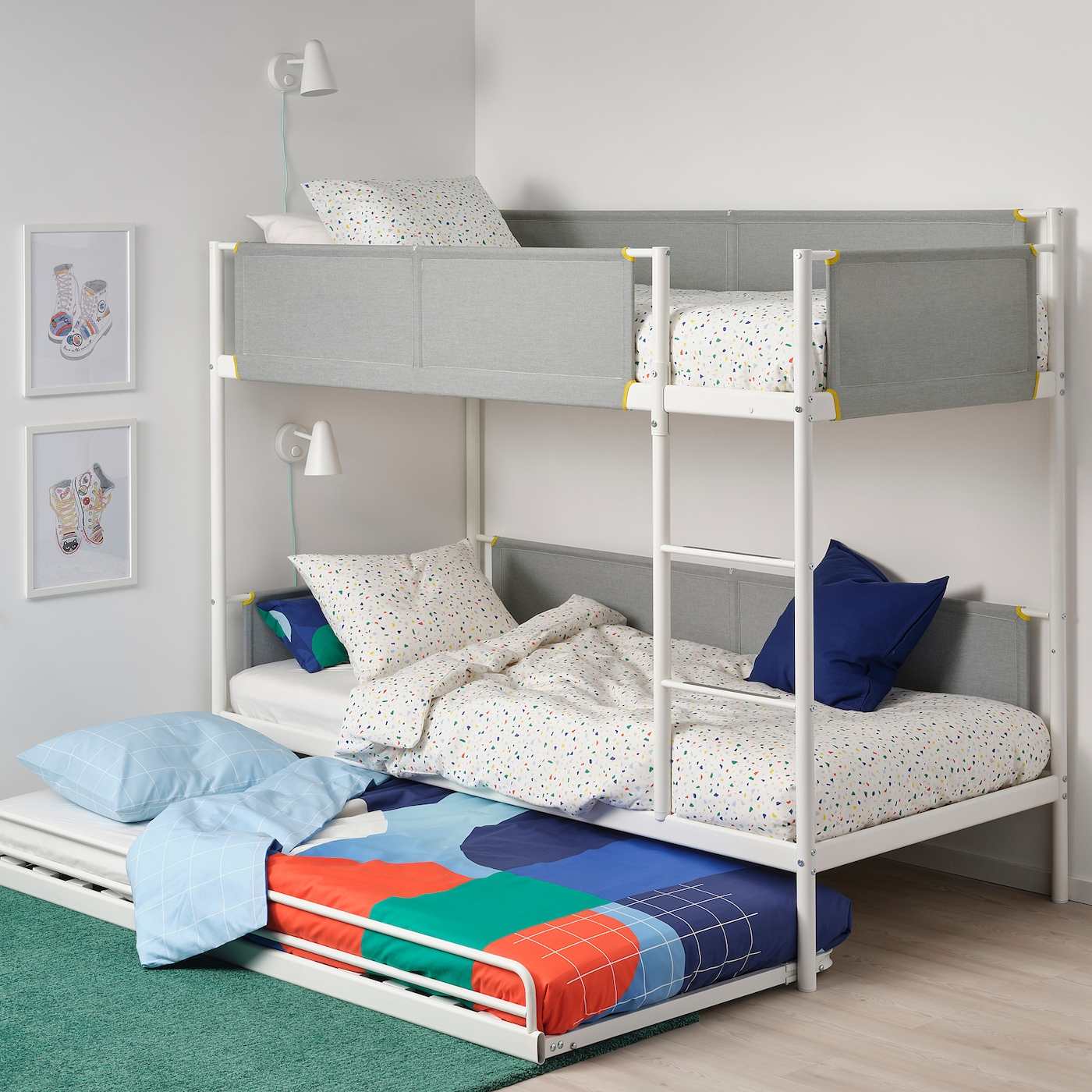 Vitval White Light Grey Bunk Bed With Underbed 90x200