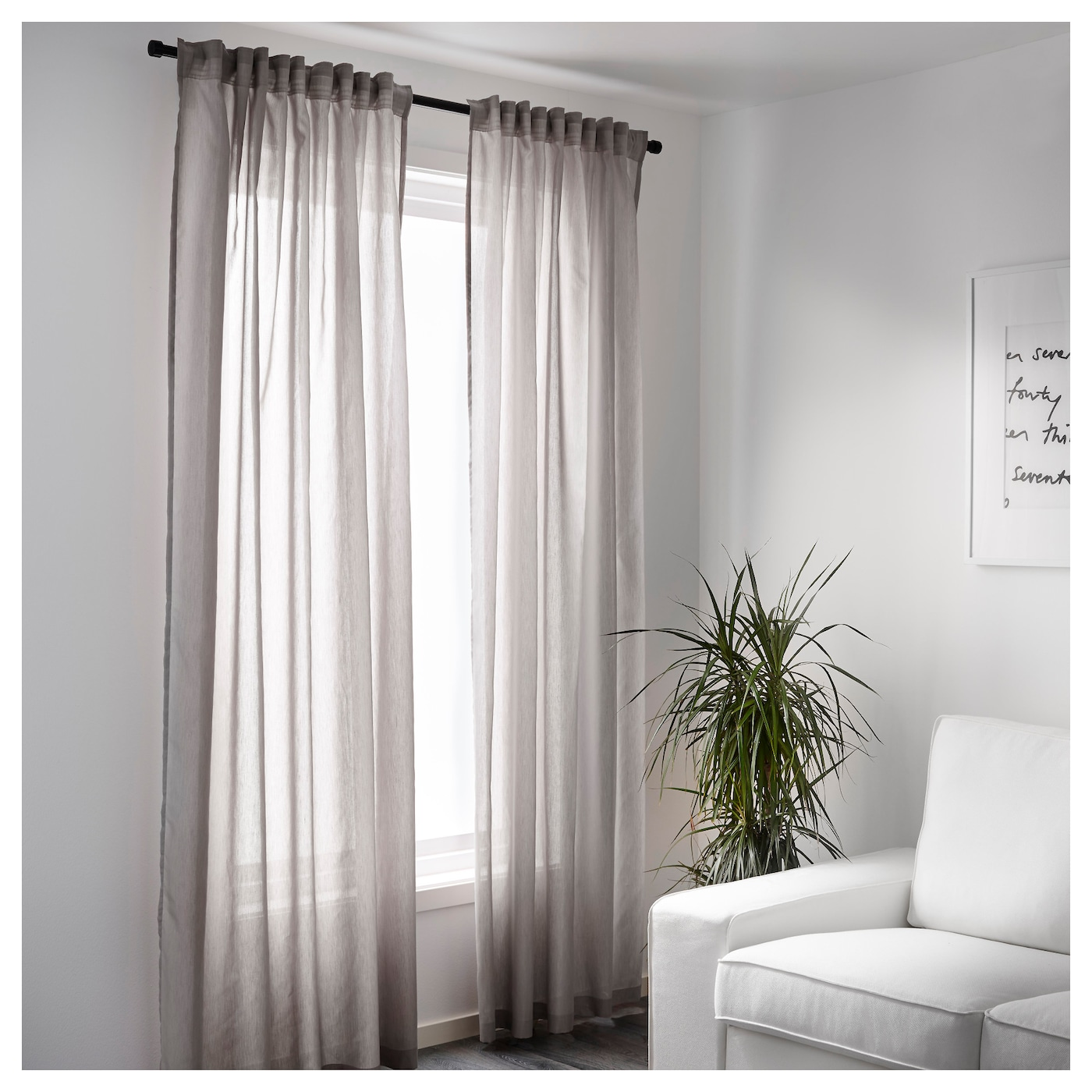 vivan curtains 1 pair grey 145x250 cm ikea. Black Bedroom Furniture Sets. Home Design Ideas