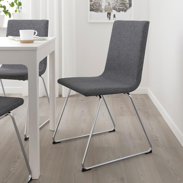 VOLFGANG chrome plated, Gunnared medium grey, Chair IKEA