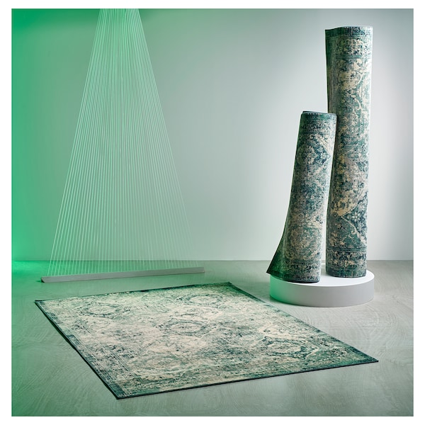 VONSBÄK rug, low pile green 195 cm 133 cm 8 mm 2.59 m² 1700 g/m² 645 g/m² 6 mm