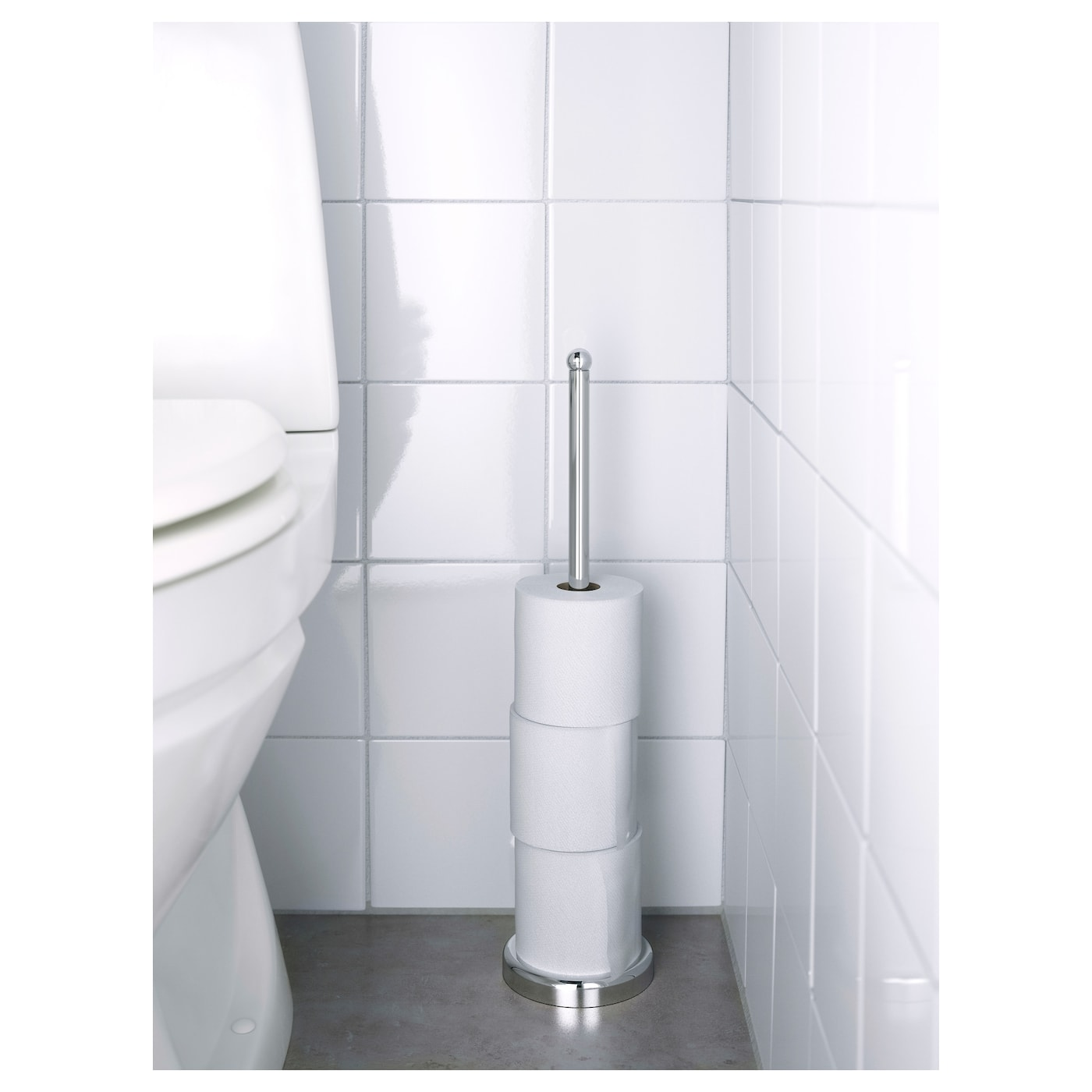IKEA VOXNAN toilet roll stand The chrome finish is durable and resistant to corrosion.