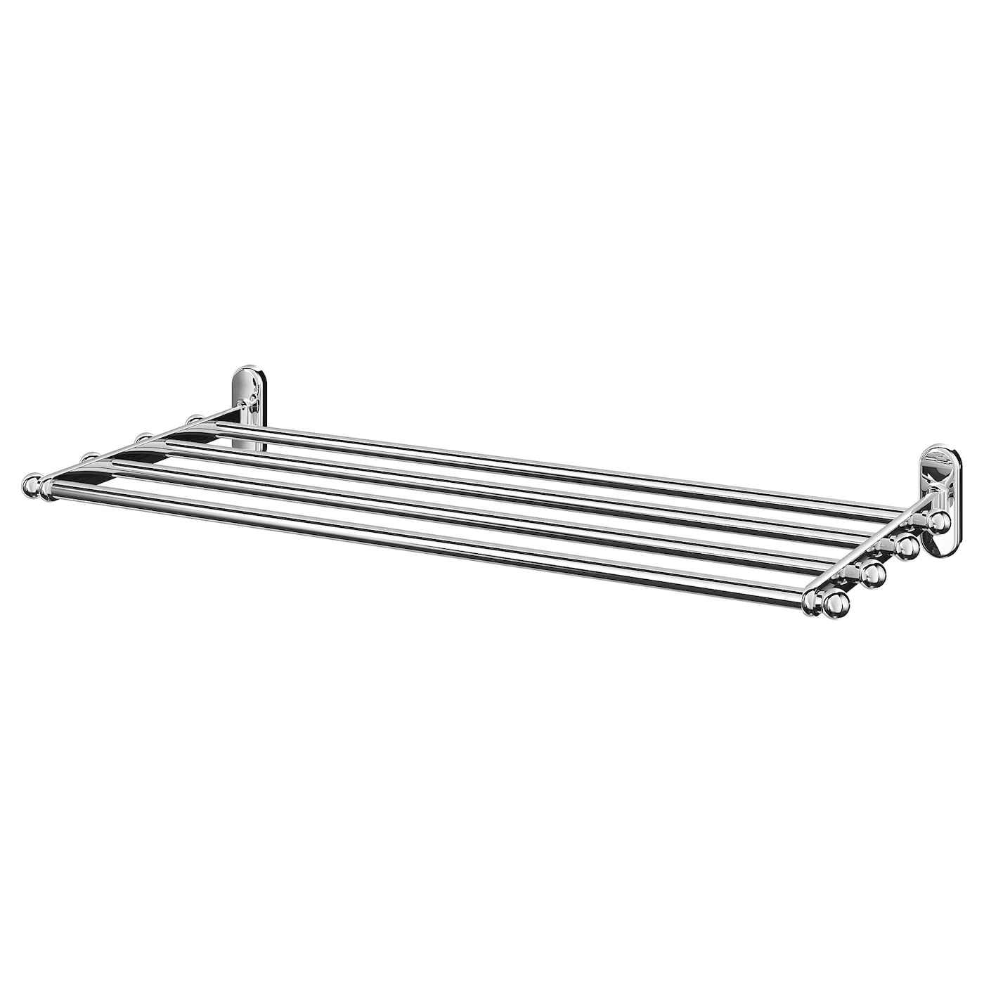 IKEA VOXNAN wall shelf with towel rail No visible screws, as the fixings are concealed.