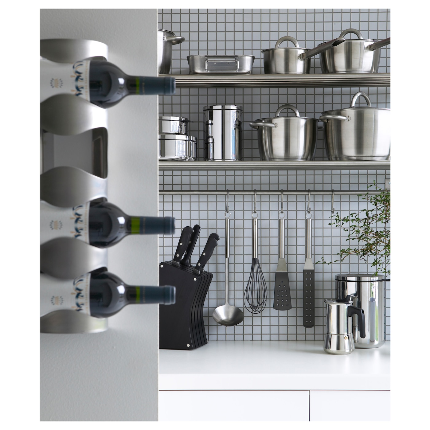 IKEA VURM 4-bottle wine rack Can be placed on its back or hung on the wall.