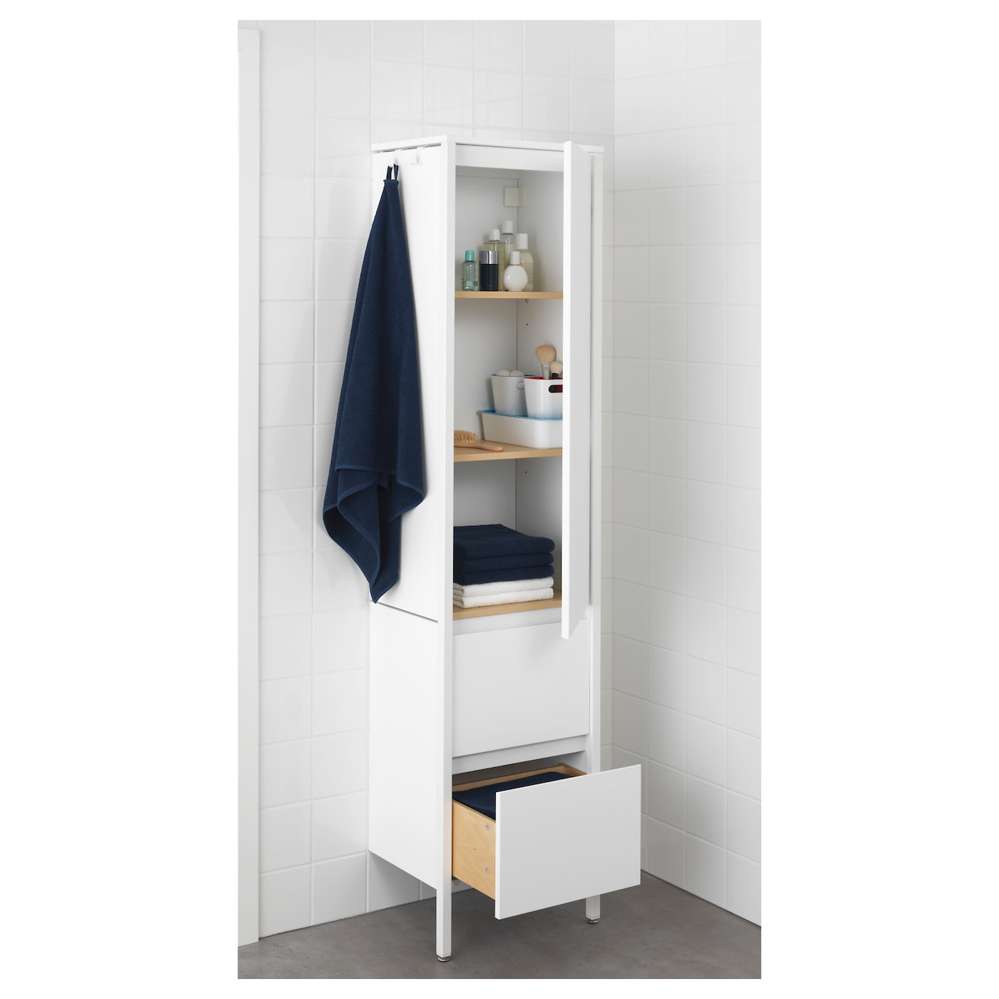 IKEA YDDINGEN high cabinet Hooks for towels or other things that you want to have within easy reach.